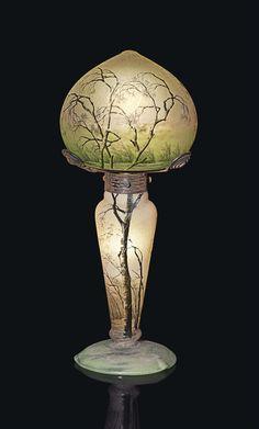 DAUM FRÉRES (EST. 1825) -  'LA PLUIE' TABLE LAMP, CIRCA 1896