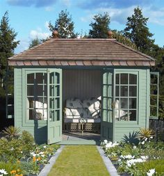 Garden studio, backyard studio, backyard retreat, backyard sheds, garden sh Backyard Studio, Backyard Sheds, Backyard Retreat, Backyard Landscaping, Garden Sheds, Gazebo, Summer House Garden, Summer Houses Uk, Pavillion