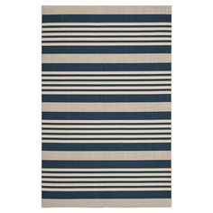 Anchor your patio seating group or define space in the den with this artfully loomed rug, featuring navy and beige-hued stripes for timeless style. ...5x8 $82.95