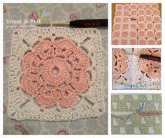 MAYBELLE SQUARE          Para hacer la flor necesitan lana o hilo de algodón del grosor para trabajarla con aguja 2,5.   1) poner 10 cade...
