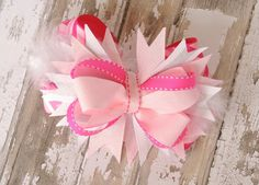 Over the Top 5 inch Light and Medium Pink Glitter Chevron Stacked Boutique Bow with Marabou Feathers, Baby Headband, Child Headband