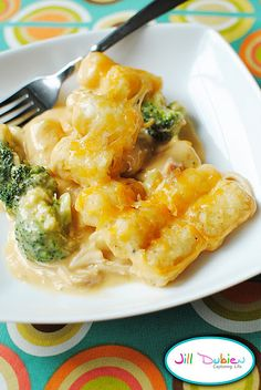 Broccoli, Cheddar and Chicken Tator tot casserole. I made this tonight with some adjustments. LESS soup out of the can, added chicken broth and did all of the soup and chicken in a crock pot. I used frozen broccoli and cooked it for a few minutes before I added it to the soup mixture.  Put it all in a dish and added the tots and cheese on top.  The hubs LOVED it.