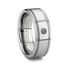 ACHILLES 6MM/8MM Tungsten Ring with Solitaire Black Diamond with Two Grooves
