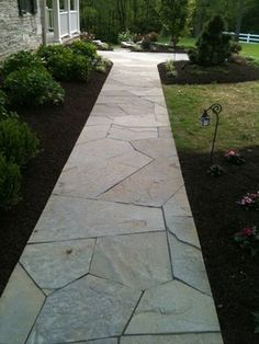 outdoor living pinterest flagstone pool pavers and brick path - Flagstone Walkway Design Ideas