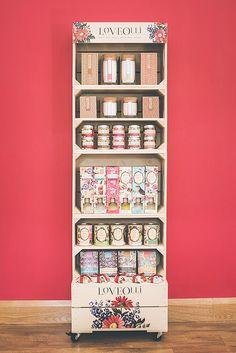 Love Olli Retail Display Unit Display Shelves, Display Ideas, Pos Design, Food Retail, Craft Fair Displays, Point Of Sale, Retail Displays, Craft Fairs, Crates