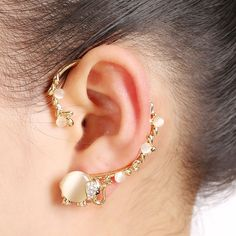 2016 New Gold Plated Orecchini Bijoux Opal Strass Insetto Elephant Polsino Dell'orecchio Della Clip Dell'orecchino Monili Regalo Per Le Donne
