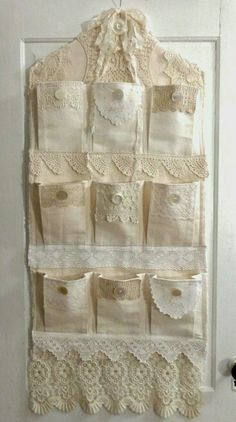 Pretty use of lace, trims and buttons