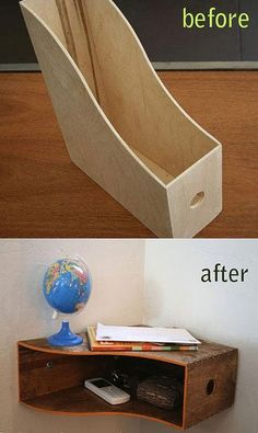 Transform a File Holder Into a Curvy Wall Shelf