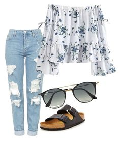 """""""Untitled #69"""" by ameliajaggi on Polyvore featuring Topshop, Birkenstock and Ray-Ban"""