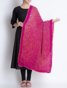 Fuschia-Orange Gajji Silk Bandhani Printed Dupatta