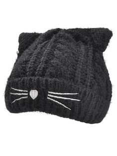 e93fe8fa6ad Funny Kitty Ear Decoration Knitted Lightweight Beanie - BLACK - Tap the  link now to see all of our cool cat collections!