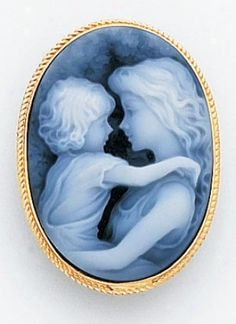 Diamond Cameos - 14k White Gold Blue Agate Cameo Mother Child Rhombus Cameo