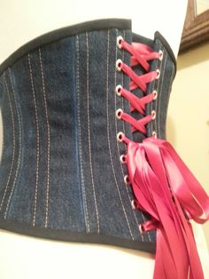 Recycled Levi jean underbust corset.