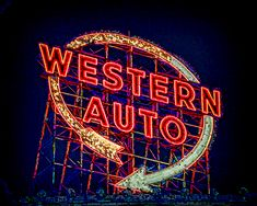 Western Auto Sign Digital Art Art Print by Kevin Anderson. All prints are professionally printed, packaged, and shipped within 3 - 4 business days. Thing 1, Vintage Signs, All Art, Kansas City, Fine Art America, Signage, Westerns, Digital Art, Neon Signs
