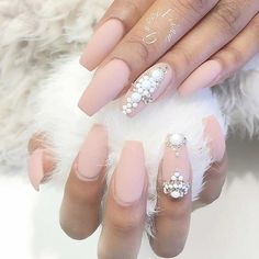 Matte Light Pink Coffin Nails with White Rhinestones