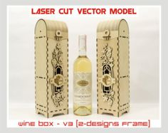 Wine box, Wood wine box, Plywood  wine box, Laser cut vector model, Instant download, Wine box - V3