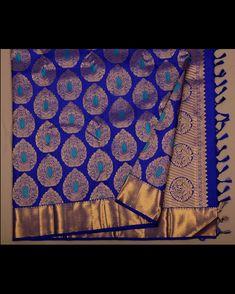 Image may contain: indoor Kanjivaram Sarees Silk, Blue Silk Saree, Khadi Saree, Kanchipuram Saree, Soft Silk Sarees, Kerala Saree Blouse Designs, Wedding Saree Blouse Designs, Indian Bridal Sarees, Wedding Silk Saree