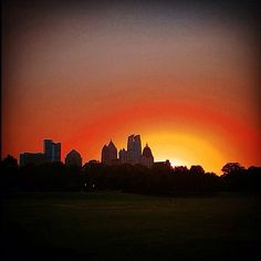 Atlanta Skyline and Sunset from Piedmont Park.