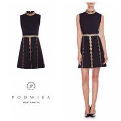 Trapezowa sukienka ze złotymi elementami dostępna na @mostrami.pl 😍😍