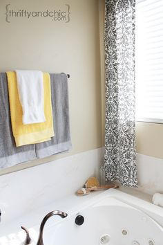 Easy No Sew curtains and master bathroom color scheme.  love the grey, white & yellow accent towels.  Master bathroom