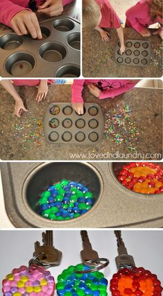 Melted Bead Keychains - Kid Craft Contributor - Sugar Bee Crafts Melted Bead Key chains are a fun craft that kids will really enjoy. Bee Crafts, Diy Crafts To Sell, Diy Crafts For Kids, Easy Crafts, Arts And Crafts, Kids Diy, Easy Diy, Easy Art For Kids, Ideias Diy