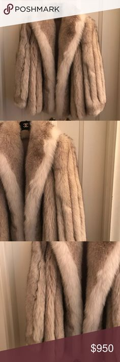 White & tan Fox fur coat L authentic White & tan Fox fur coat L authentic in great condition very high end beautiful in person researching for pricing open to negotiations leave me a comment if interested or want specific measurements pics etc & will expedite details ASAP. Jackets & Coats