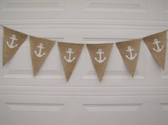 Anchor Glittered Burlap Banner