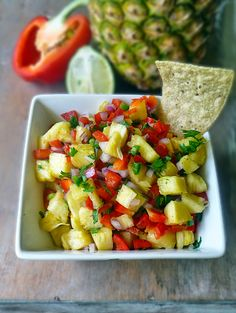 Sweet and Spicy Pineapple Salsa | by Life Tastes good goes great with some salty tortilla chips and a comfy couch , but topping fish, chicken, or even pork with a sweet and spicy fruit salsa is an easy way to turn a plain dinner into a fabulous gourmet meal! #Appetizer #Mexican