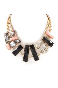 Necklace in Black, Coral, Rhinestones and Gold. Beautiful!
