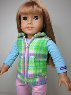 American Girl doll clothes Green and pink  plaid by JazzyDollDuds