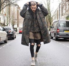 Long jacket / green / black / tripes / hipster / men / style / clothes / zara / H&M