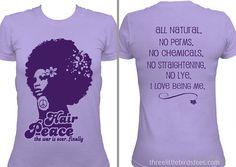 Hair+Peace+Natural+HairTshirt+Lavender+by+ThreeLittleBirdsTees,+$19.95