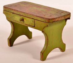 "Conestoga Auctions - Harry B. Hartman Estate Auction - Session II May 16, 2015. Lot 505. Estimate: $200 – $400. Sold $3,630. Description: Pennsylvania 19th Century Mortise Leg Foot Stool. Single skirt drawer, filed scalloped edge and old apple green paint. 9""h. x 14-1/2""w. x 7""d. Condition: Good, paint wear."