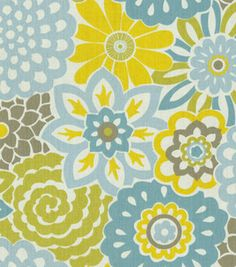 Home Decor Print Fabric- Waverly Button Blooms Spa     Share:          	 (1)  reviews |  write a review  # 12222337  reg. 29.99 SALE $14.99  50% off Home Decor Fabrics  54'' Wide. 100% Cotton. Repeat:13.5''V x 13.5''H. Vacuum, Cleaning Agents Should Not Be Used, Professional Cleaning Recommended. Made in USA.