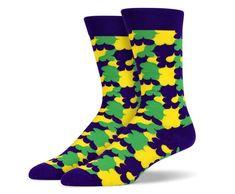 Purple Green Yellow Cloud Socks