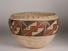 Large Native American Indian Pottery Bowl ~ Acoma Pueblo ~ Circa 1920's