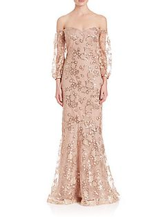 Teri Jon by Rickie Freeman Off-The-Shoulder Sequin Lace Gown