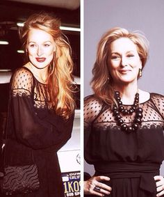 Mercy! Meryl Streep, 79 and now, same dress.