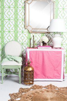 Palm Beach Retro Mirror, Petal TableSkirt, The Matisse Chair in Avocado, Flower Weave Marigold Rug, White Ginger Jar Lamp, Twig Grass Wallpaper - Society Social
