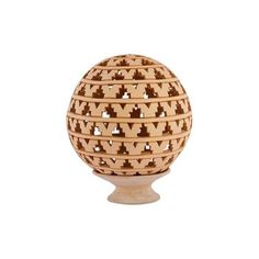 NOVICA Artisan Crafted Spherical Ceramic Candle Holder (585 CNY) ❤ liked on Polyvore featuring home, home decor, candles & candleholders, candle holders, lamps and lighting, ceramic candle holders, novica home decor, ceramic candlestick holders, handmade candle holders and handmade home decor
