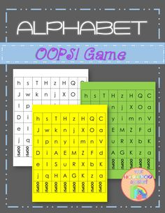 The fun and popular OOPS! Game for practicing letter identification. Black and white and color pages are included. Learning Letters, Alphabet Activities, Book Activities, Letter Identification, Teacher Assistant, Student Drawing, Children's Literature, Your Teacher, Nursery Rhymes