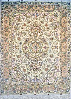 Khatibi Silk Persian Rug   Exclusive collection of rugs and tableau rugs - Treasure Gallery Khatibi Silk Persian Rug You pay: $4,500.00 Retail Price: $8,900.00 You Save: 49% ($4,400.00) Item#: EK-90 Category: Small(3x5-5x8) Persian Rugs Design: Center Medallion Floral Size: 152 x 198 (cm)      4' 11 x 6' 5 (ft) Origin: Persian, Tabriz Foundation: Silk Material: Wool & Silk Weave: 100% Hand Woven Age: Brand New KPSI: 550