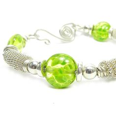 Lime green bracelet statement jewelry sterling silver by SAStudio, $89.00