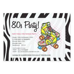 Roller Skate Birthday Invitations Retro Totally 80's Roller Skates Birthday Party Card