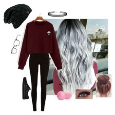 """""""Burgundy Alien"""" by dcthompsonn on Polyvore featuring River Island, Ray-Ban, LULUS, Vans and Eos"""