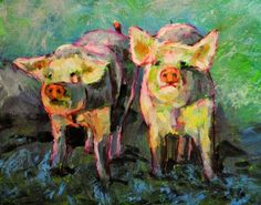 - DAVID LARSON EVANS - http://www.dailypainters.com/paintings/211320/Palette-Pigs-8x10-oil-on-canvas-in-darkwood-frame/David-Larson-Evans