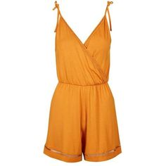 TopShop Petite Wrap Trim Playsuit ($35) ❤ liked on Polyvore featuring jumpsuits, rompers, playsuit romper, orange romper and wrap romper