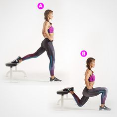 Bulgarian Split Squat--Work toward using a weighted barbell and putting your foot on a ball