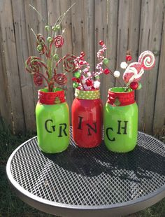Items similar to He's a mean one, Mr. Set of 3 hand painted Grinch mason jars on Etsy Grinch Christmas Decorations, Grinch Stole Christmas, Christmas In July, Winter Christmas, Christmas Stuff, Christmas Ideas, Mr Grinch, Grinch Party, Thanksgiving Invitation