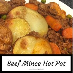 Beef Mince Hot Pot- such a delicious dinner recipe made of savoury minced beef with carrots and peas and topped with potato slices. Very easy recipe to make for family meals. Minced Beef Recipes, Leek Recipes, Baked Salmon Recipes, Beef Mince Recipes, Quorn Recipes, Savoury Recipes, Chicken Recipes, Slow Cooker Beef, Slow Cooker Recipes
